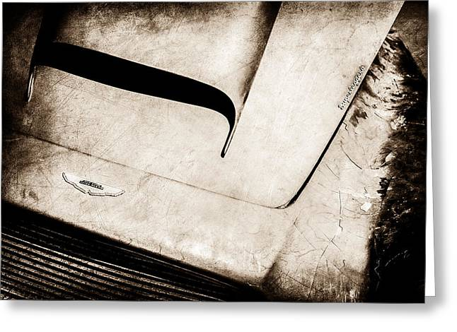 Famous Photographers Greeting Cards - 1961 Aston Martin DB4 Hood Emblem -0490s Greeting Card by Jill Reger
