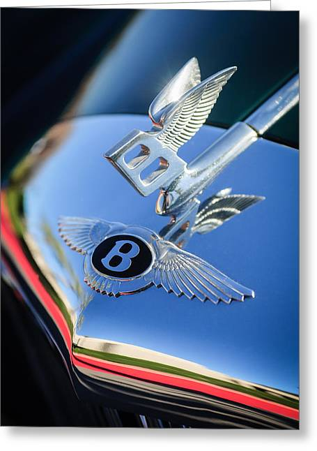 Spurs Greeting Cards - 1961 Bentley S2 Continental Hood Ornament - Emblem Greeting Card by Jill Reger