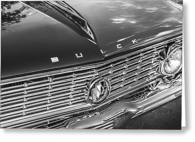 155 Greeting Cards - 1961 Buick Skylark BW Greeting Card by Rich Franco