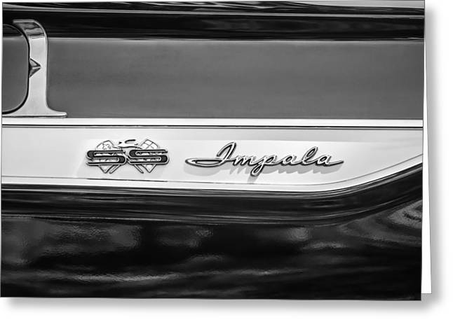 1961 Chevrolet Bel Air Impala Bubble Top Emblem -0603bw Greeting Card by Jill Reger