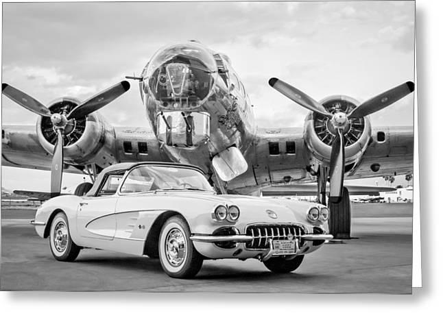 1961 Greeting Cards - 1961 Chevrolet Corvette - B-17 Bomber Greeting Card by Jill Reger