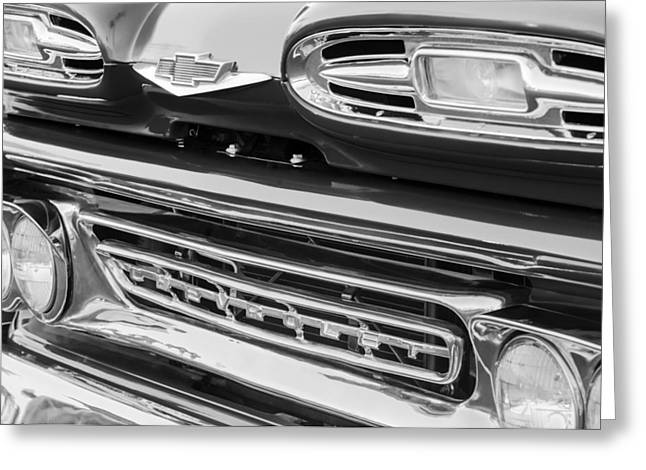 Chevy Pickup Greeting Cards - 1961 Chevrolet Front End Emblem Greeting Card by Jill Reger
