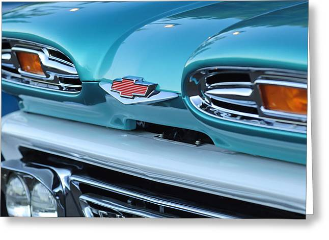 Chevy Truck Greeting Cards - 1961 Chevrolet Headlights Greeting Card by Jill Reger