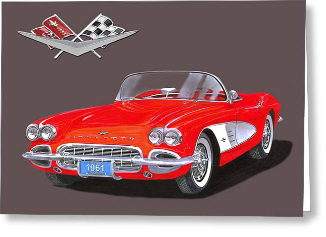 Treatment Mixed Media Greeting Cards - 1961 Corvette Convertible Greeting Card by Jack Pumphrey