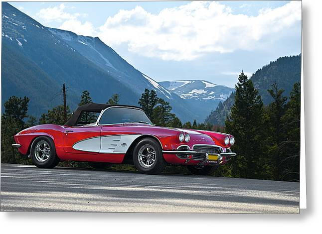 Rally Greeting Cards - 1961 Corvette in Mountains Greeting Card by Dave Koontz