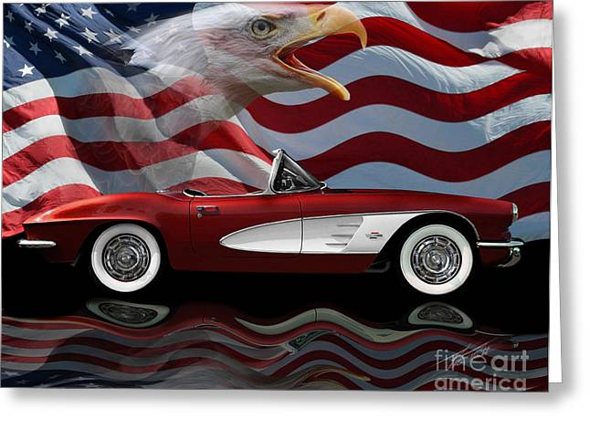 Classic Automobile Art Greeting Cards - 1961 Corvette Tribute Greeting Card by Peter Piatt