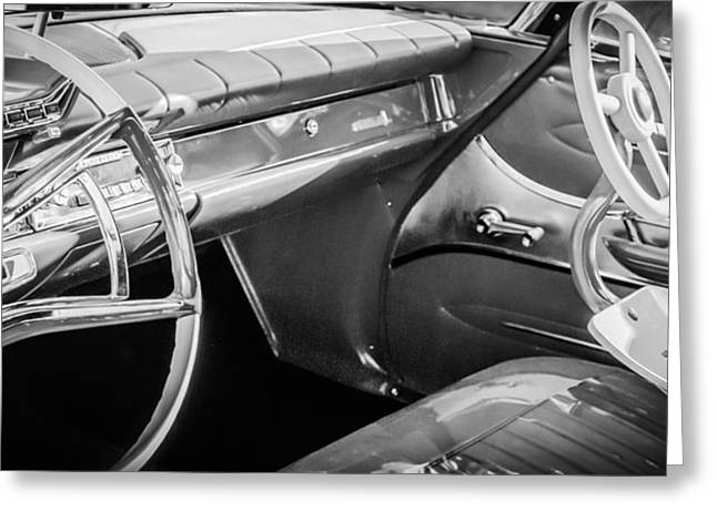 1951 Greeting Cards - 1961 Dodge Phoenix Steering Wheel -0126bw Greeting Card by Jill Reger