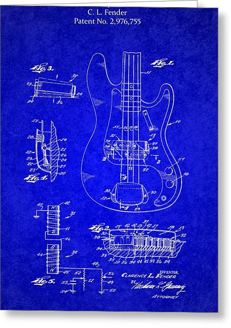 Lute Mixed Media Greeting Cards - 1961 Fender Guitar Greeting Card by Michael Braham