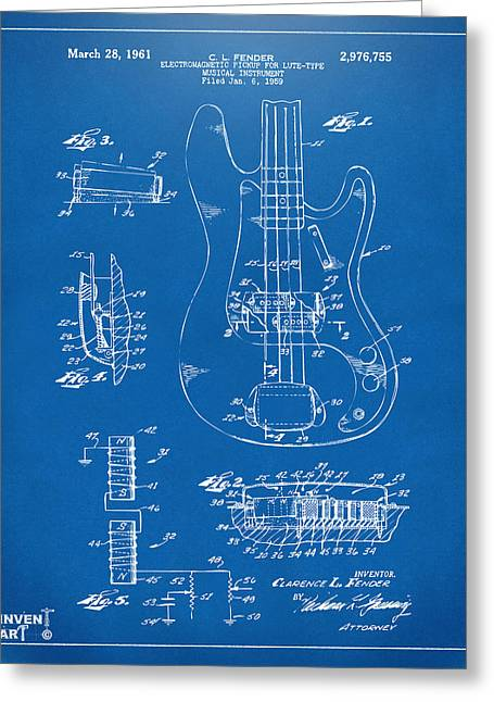 Guitar Player Digital Greeting Cards - 1961 Fender Guitar Patent Artwork - Blueprint Greeting Card by Nikki Marie Smith