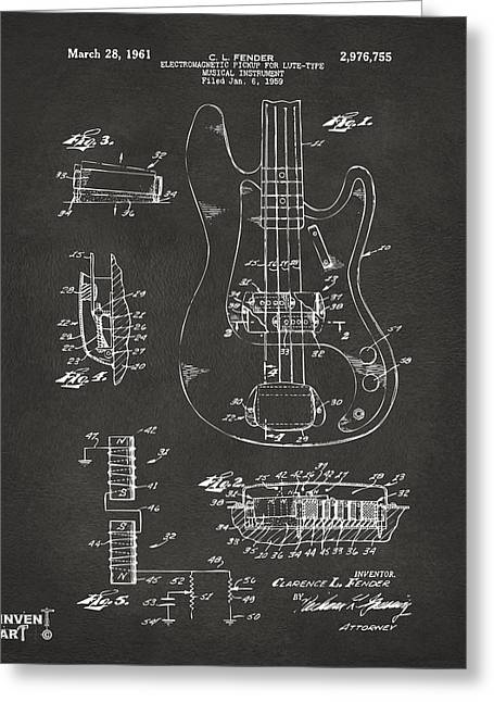 Waiting Greeting Cards - 1961 Fender Guitar Patent Artwork - Gray Greeting Card by Nikki Marie Smith