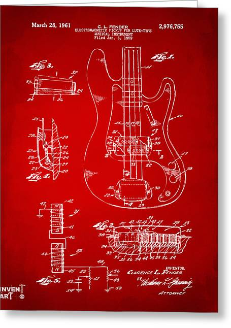 Red Guitar Digital Art Greeting Cards - 1961 Fender Guitar Patent Artwork - Red Greeting Card by Nikki Marie Smith
