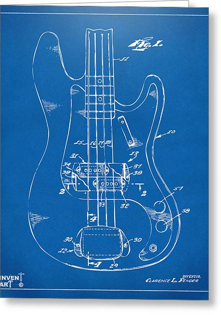 Guitar Player Digital Greeting Cards - 1961 Fender Guitar Patent Minimal - Blueprint Greeting Card by Nikki Marie Smith