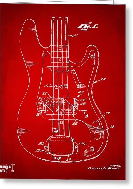 Red Guitar Digital Art Greeting Cards - 1961 Fender Guitar Patent Minimal - Red Greeting Card by Nikki Marie Smith