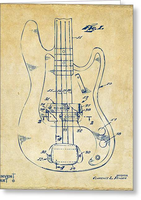 Guitar Player Digital Greeting Cards - 1961 Fender Guitar Patent Minimal - Vintage Greeting Card by Nikki Marie Smith