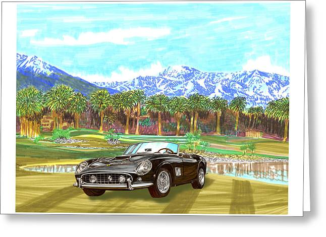 Championship Drawings Greeting Cards - 1961 Ferrari G T 250 Indian Wells  Golf Greeting Card by Jack Pumphrey