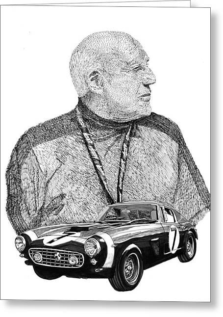 Championship Drawings Greeting Cards -  Sir Stirling Moss 1961 Ferrari GT 250 Greeting Card by Jack Pumphrey