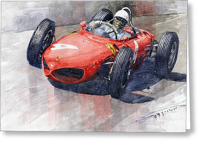 Watercolour Paintings Greeting Cards - 1961 Germany GP Ferrari 156 Phil Hill Greeting Card by Yuriy Shevchuk