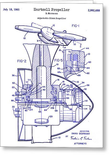 Propeller Airplane Greeting Cards - 1961 Hartzell Propeller Blueprint Greeting Card by Jon Neidert
