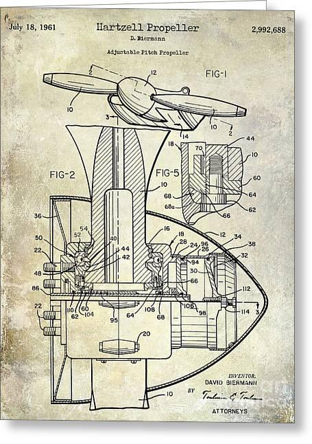 Propeller Airplane Greeting Cards - 1961 Hartzell Propeller Patent Blueprint Greeting Card by Jon Neidert