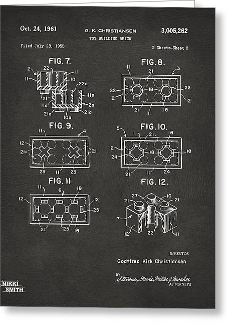 Block Print Art Greeting Cards - 1961 LEGO Brick Patent Art - Gray Greeting Card by Nikki Marie Smith