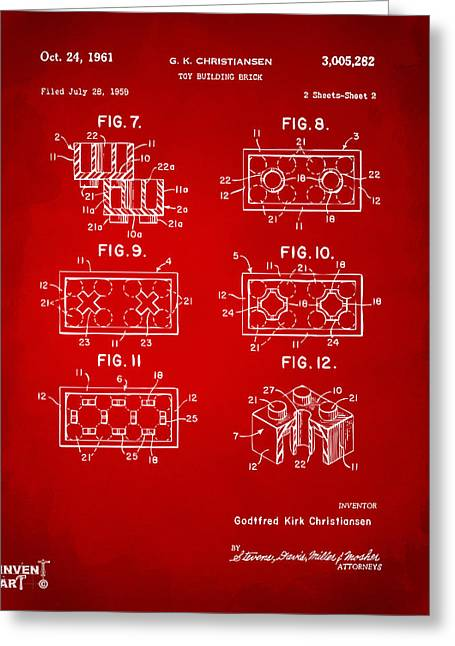 Block Print Art Greeting Cards - 1961 LEGO Brick Patent Art Red Greeting Card by Nikki Marie Smith