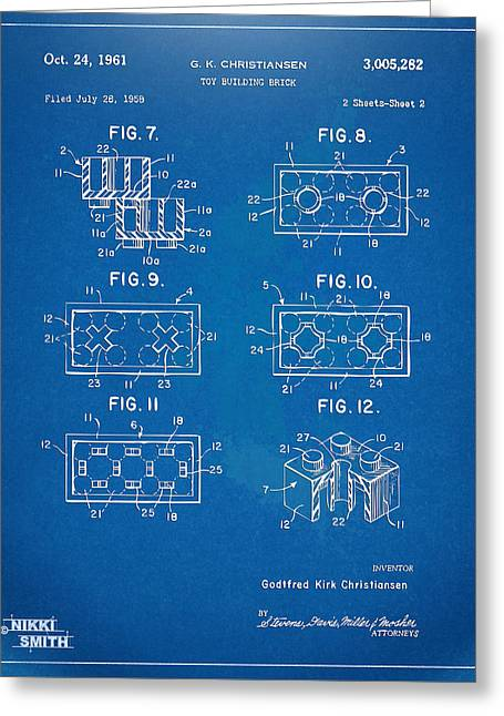 1961 Lego Brick Patent Artwork - Blueprint Greeting Card by Nikki Marie Smith