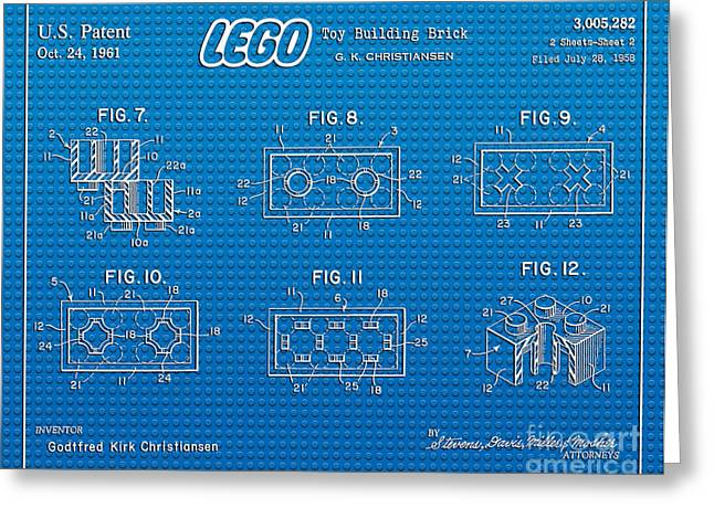 Lego Greeting Cards - 1961 Lego Building Blocks Patent Art 1 Greeting Card by Nishanth Gopinathan