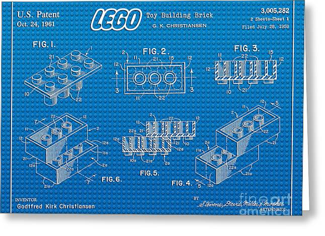 Lego Greeting Cards - 1961 Lego Building Blocks Patent Art 2 Greeting Card by Nishanth Gopinathan