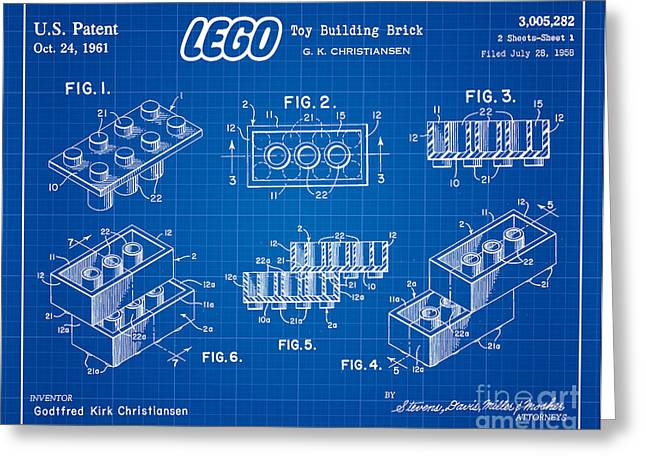 Lego Greeting Cards - 1961 Lego Building Blocks Patent Art 3 Greeting Card by Nishanth Gopinathan