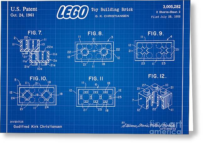 Lego Greeting Cards - 1961 Lego Building Blocks Patent Art 4 Greeting Card by Nishanth Gopinathan