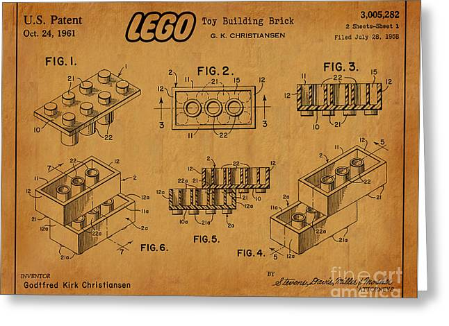 Lego Greeting Cards - 1961 Lego Building Blocks Patent Art 5 Greeting Card by Nishanth Gopinathan