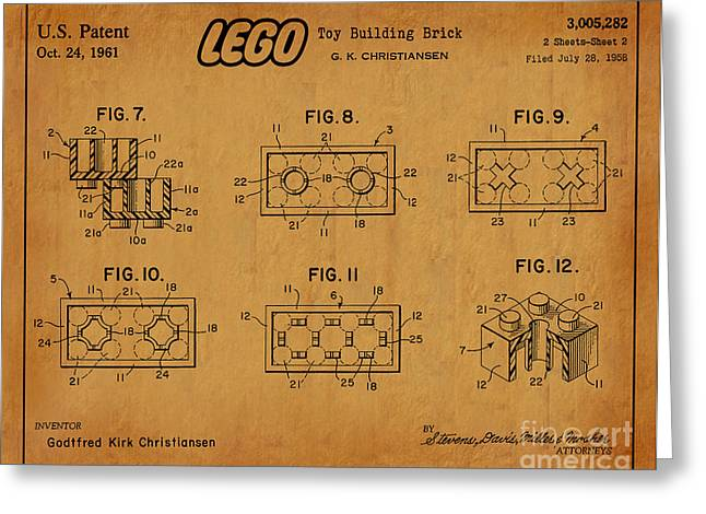 Recently Sold -  - Lego Greeting Cards - 1961 Lego Building Blocks Patent Art 6 Greeting Card by Nishanth Gopinathan