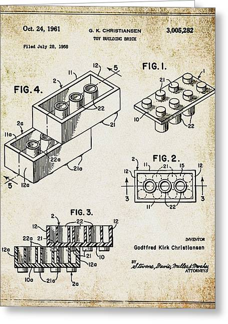 Lego Greeting Cards - 1961 Lego Patent Greeting Card by Digital Reproductions