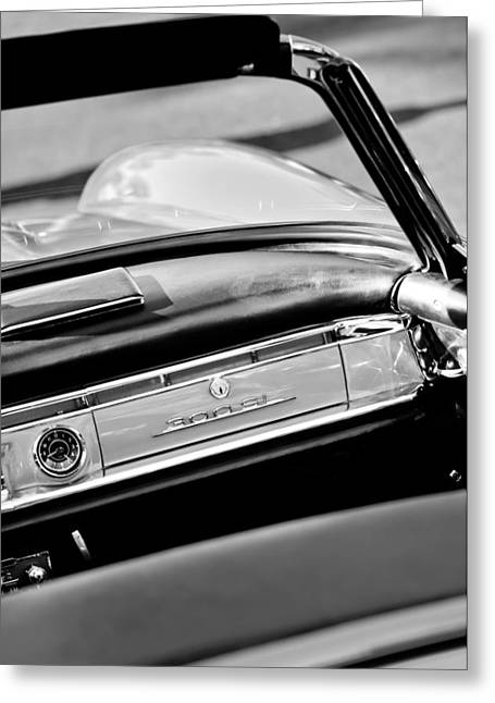 1961 Mercedes-benz 300 Sl Roadster Dashboard Emblem Greeting Card by Jill Reger