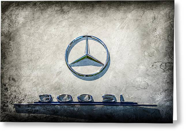 1961 Mercedes Benz 300sl Roadster Emblem -0585ac Greeting Card by Jill Reger