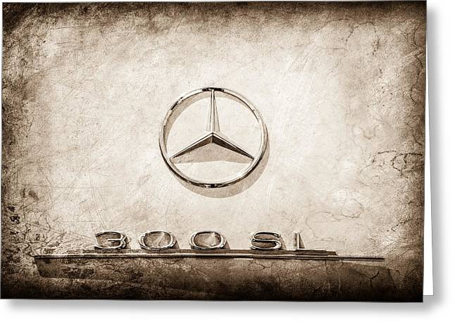 1961 Mercedes Benz 300sl Roadster Emblem -0585s Greeting Card by Jill Reger
