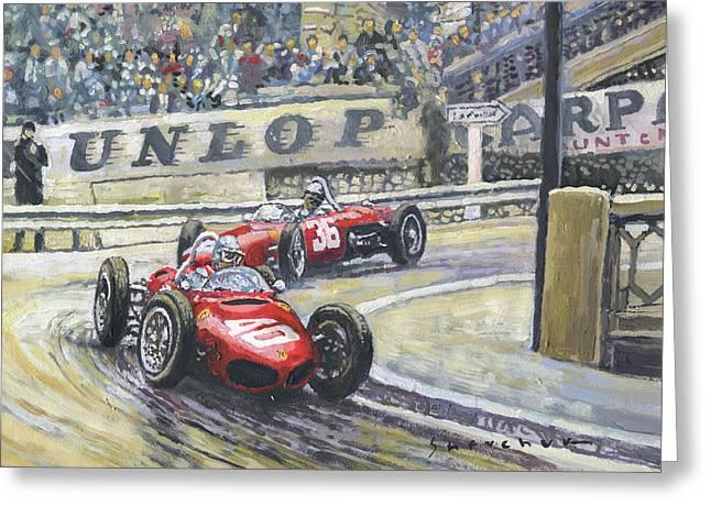 1961 Greeting Cards - 1961 Monaco GP Ferrari 156 #40 Trips #36 Ginther Greeting Card by Yuriy Shevchuk