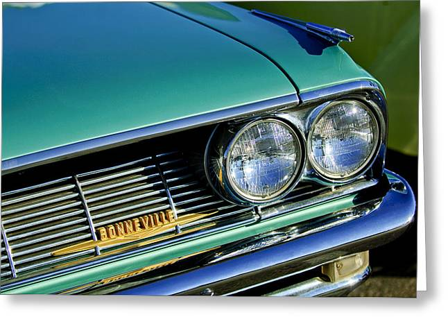 Bonneville Pictures Greeting Cards - 1961 Pontiac Bonneville Grille Emblem Greeting Card by Jill Reger