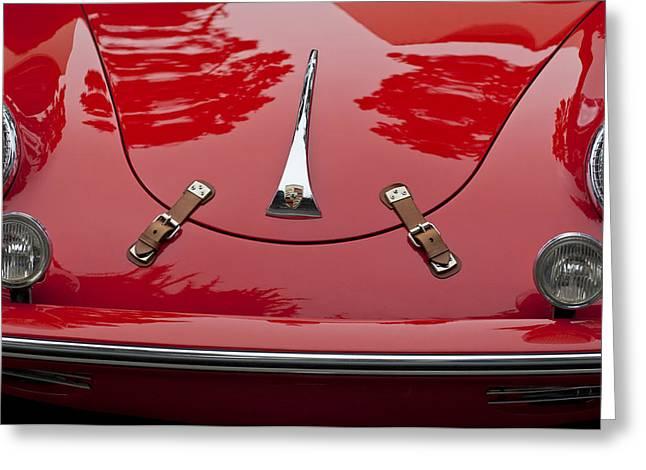 1961 Greeting Cards - 1961 Porsche 356 B Roadster Hood Emblem Greeting Card by Jill Reger