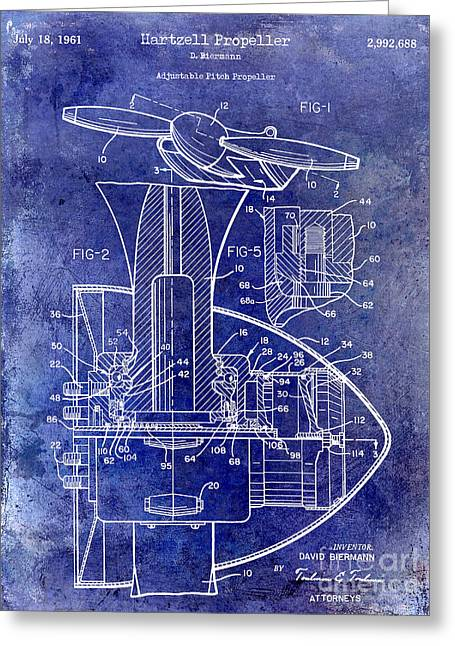 Airplane Greeting Cards - 1961 Propeller Patent Blueprint Greeting Card by Jon Neidert