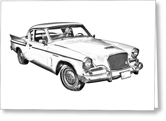 Vintage Auto Greeting Cards - 1961 Studebaker Hawk Coupe Illustration Greeting Card by Keith Webber Jr
