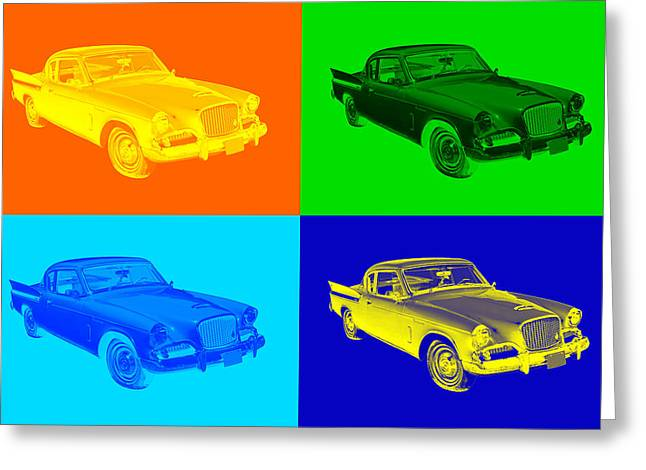 Vintage Auto Greeting Cards - 1961 Studebaker Hawk Coupe Pop Art Greeting Card by Keith Webber Jr