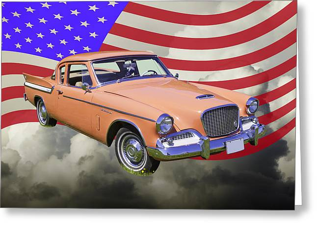 Vintage Auto Greeting Cards - 1961 Studebaker Hawk With United States Flag Greeting Card by Keith Webber Jr