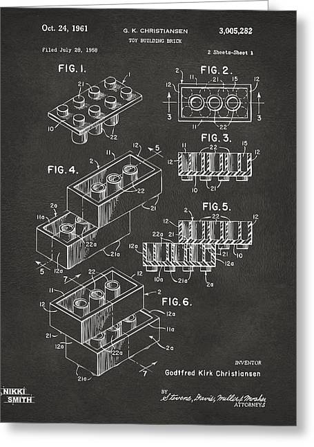Brick Buildings Greeting Cards - 1961 Toy Building Brick Patent Art - Gray Greeting Card by Nikki Marie Smith