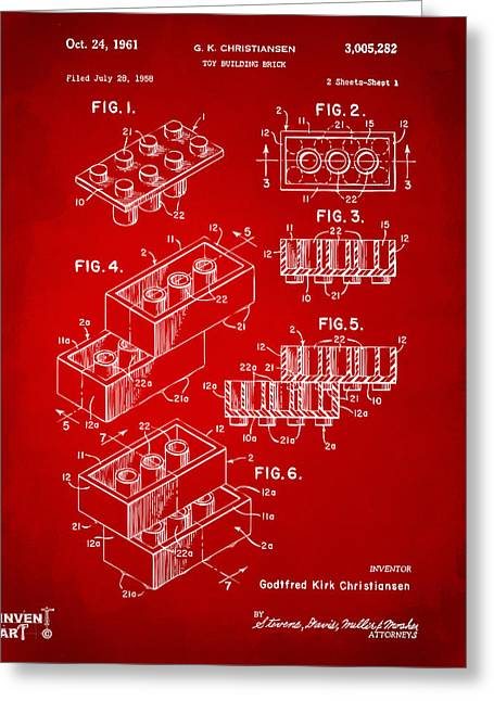 Block Print Art Greeting Cards - 1961 Toy Building Brick Patent Art Red Greeting Card by Nikki Marie Smith