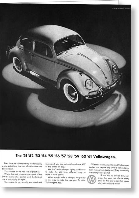 The Love Bug Greeting Cards - 1961 Volkswagen Beetle Greeting Card by Digital Repro Depot
