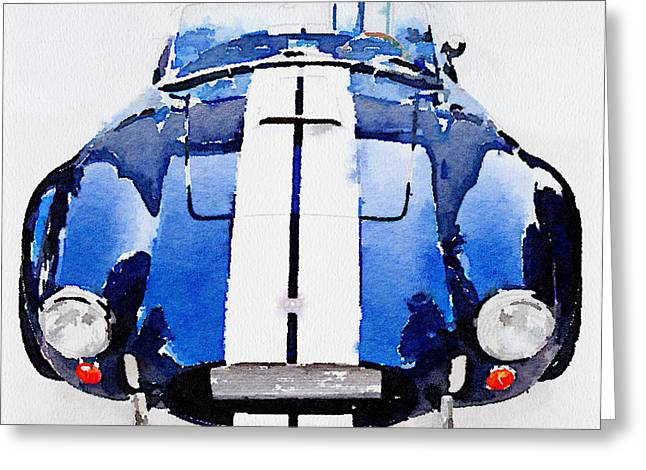 1962 Ac Cobra Shelby Watercolor Greeting Card by Naxart Studio