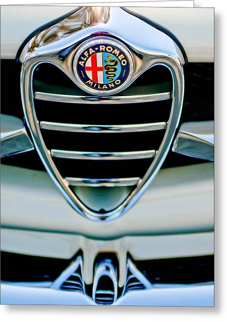 Sprinting Greeting Cards - 1962 Alfa Romeo Giulietta Coupe Sprint Speciale Grille Emblem Greeting Card by Jill Reger
