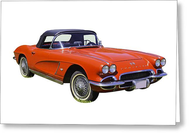Antique Digital Art Greeting Cards - 1962 Chevrolet Corvette convertible Greeting Card by Keith Webber Jr