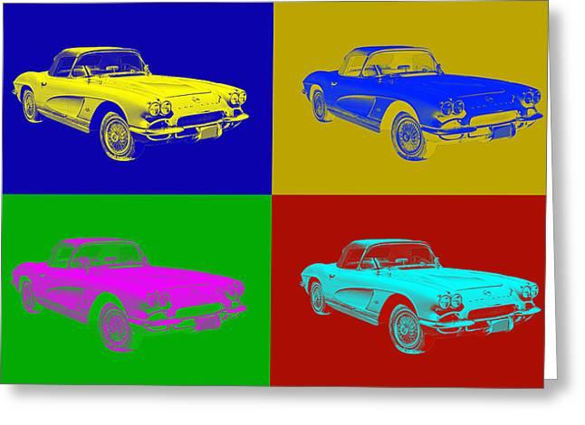 Antique Digital Art Greeting Cards - 1962 Chevrolet Corvette Convertible Pop Art Greeting Card by Keith Webber Jr